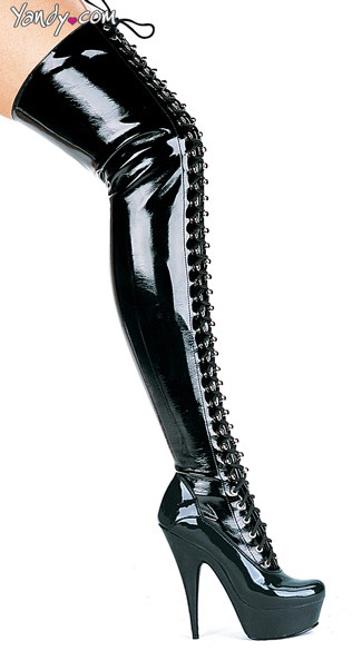 Black Wet Look Lace Up Thigh High Boots - Black