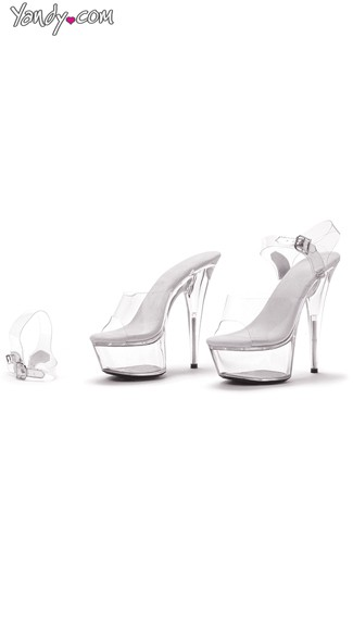 Clear Platform Sandals with Removable Ankle Strap - Clear