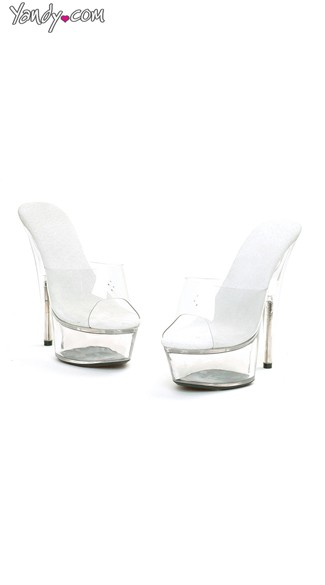 Clear Slide On Mules with Peep Toe - Clear