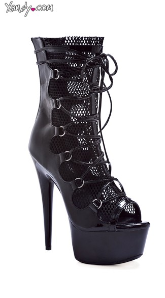 Strappy Fishnet Peep Toe Booties - Black