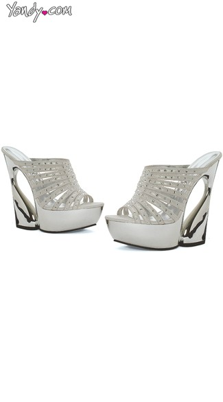 "6"" Rhinestone Wedge Mules, Curved Heel Wedge"