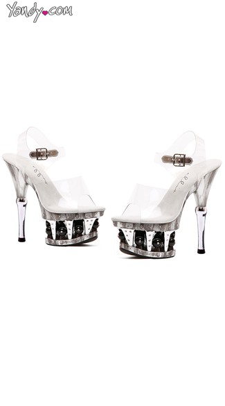 Ball Platform Sandals with Ankle Strap - Clear W/Black