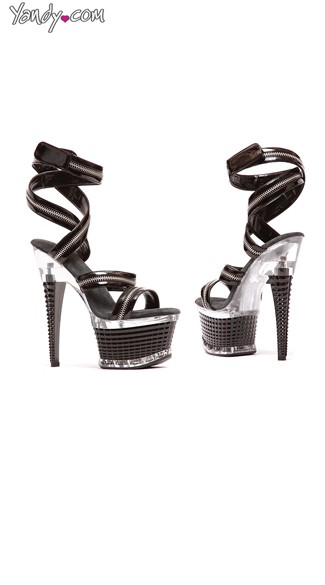 Strappy Zipper Platforms, High Platforms with Zippers