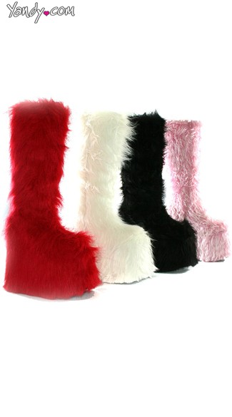 "6.5"" Platform Boot With Faux Fur, Furry Boots"