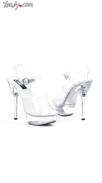 "6"" Silver Metallic Heel Sandals, Silver Heel Shoes - Yandy.com"