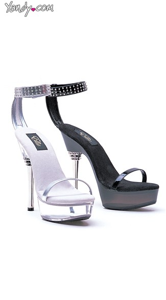 "6"" Sandals With Silver Rivet Ankle Strap, Ankle Strap Sandals"
