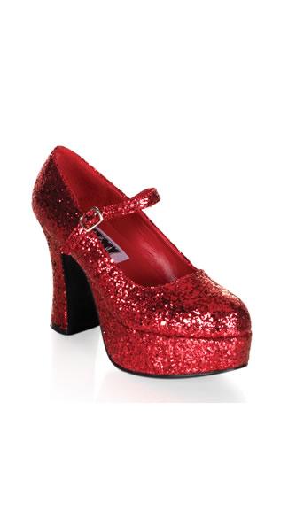 Glitter Girl Red Mary Jane Platforms - Red Glitter