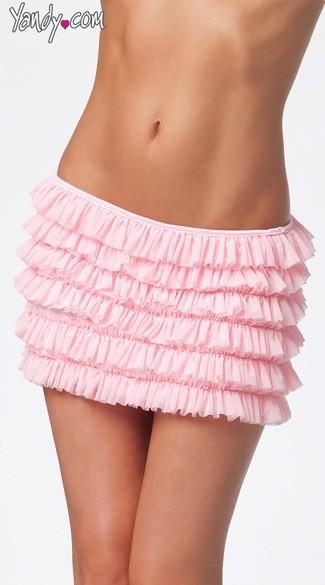 Plus Size Mesh Ruffle Skirt - Pink