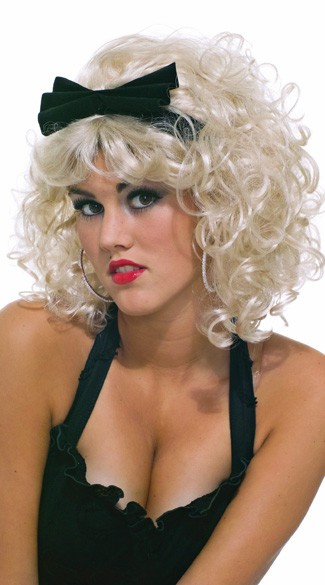 80s Girlie Costume Halloween Wig, Blonde Diva Costume Wig, Desperately Seeking Blonde Wig