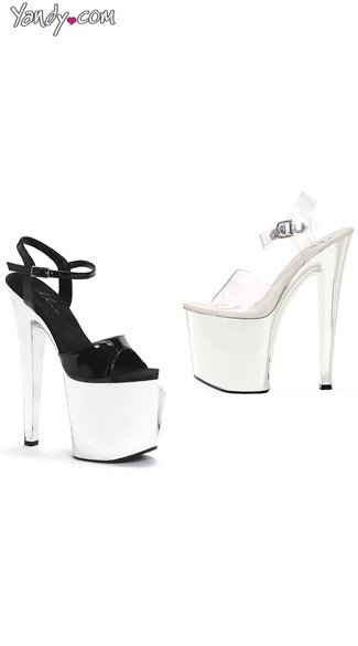 "8"" Heel Chrome Platform Sandals, Chrome Shoes - Yandy.com"