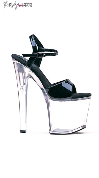 New Horizons Clear Platform Sandal - Black On Clear