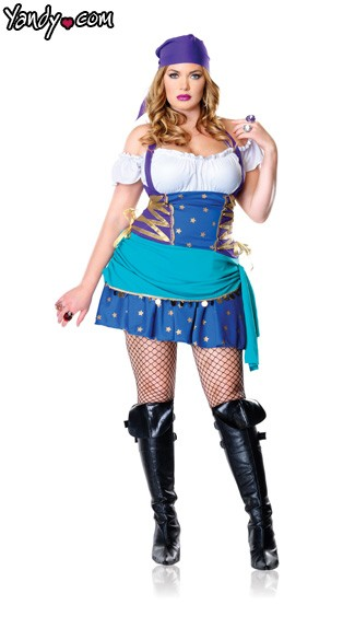 Gypsy Princess Plus Size Costume - Purple/Blue/White
