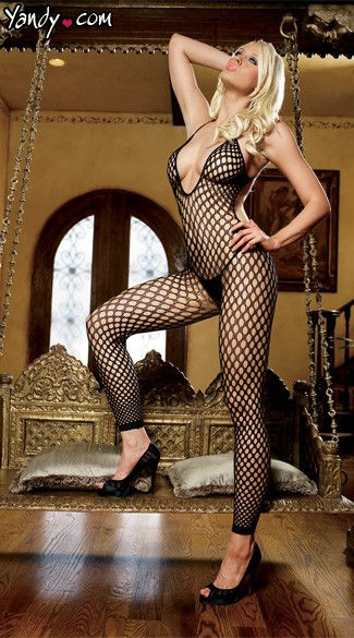 Footless Fishnet Bodystocking - Black