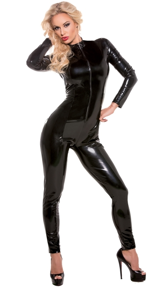 Wet Look Catsuit, Wet Look Catsuit, Long Sleeve Bodysuit