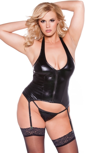 Plus Size Wet Look Bustier - Black