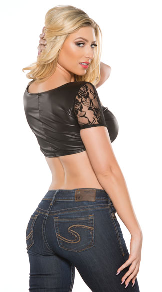 Vinyl and Lace Crop Top Set - Black