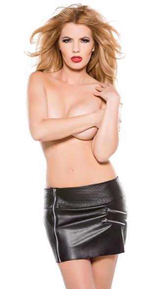 Faux Leather Zipper Mini Skirt - Black