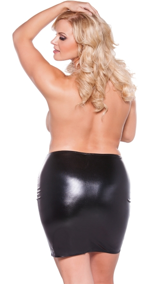 Plus Size Sexy Wet Look Pencil Skirt - Black