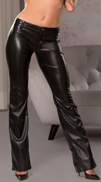 Faux Leather Bootcut Pants - Black ... a71481142