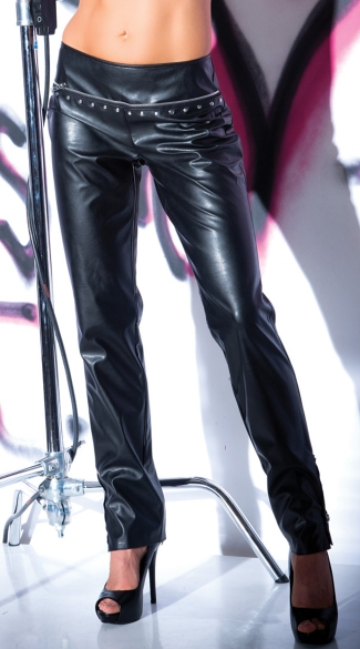 Metal Fetish Faux Leather Pants, Black Leather Pants, Black Vinyl Pants