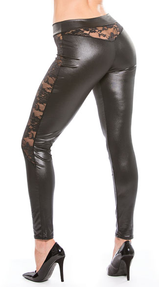 Black Vinyl And Lace Leggings Black Vinyl Leggings Black