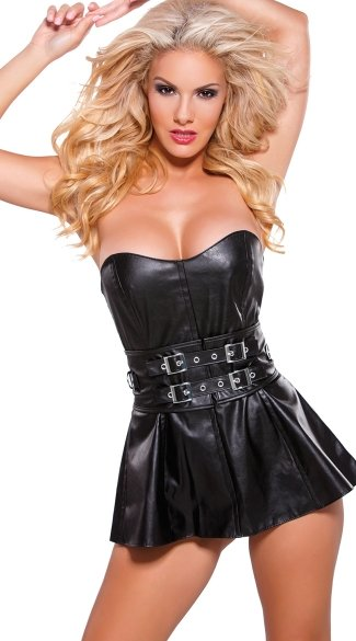 Faux Leather Silver Belted Mini Dress Cheap Sexy Clothing