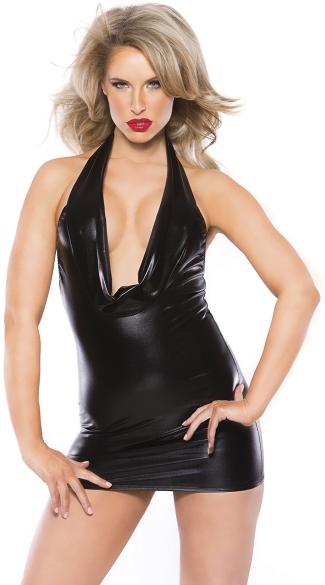 Black Wet Look Cowl Neck Mini Dress Black Wet Look Dress