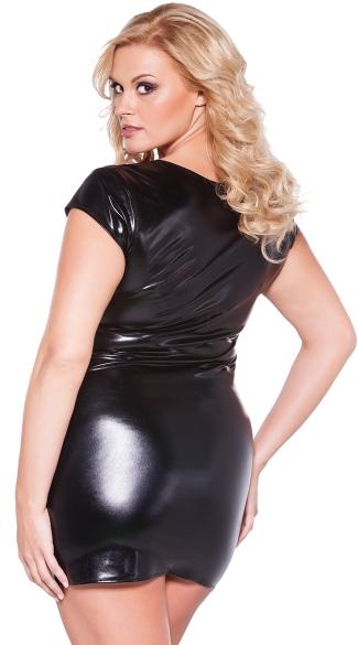 Plus Size Short Sleeve Vinyl Mini Dress - Black