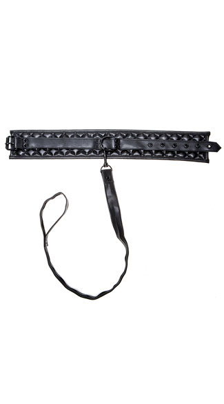 Quilted Collar with Leash - Black