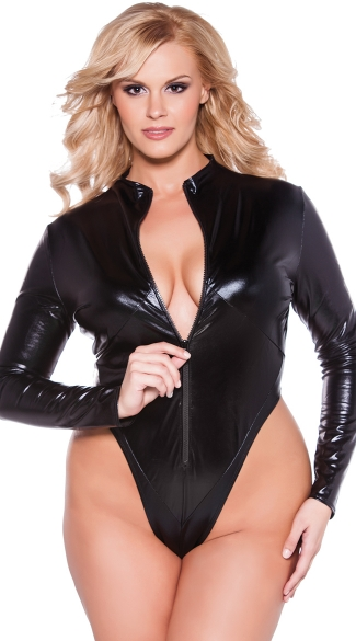 Plus Size Front Zip Vinyl Teddy, Plus Size Thong Zip Up Bodysuit, Plus Size Wet Look Long Sleeve Bodysuit
