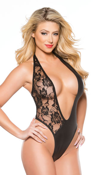 Plunging Lace and Vinyl Asymmetrical Teddy - Black