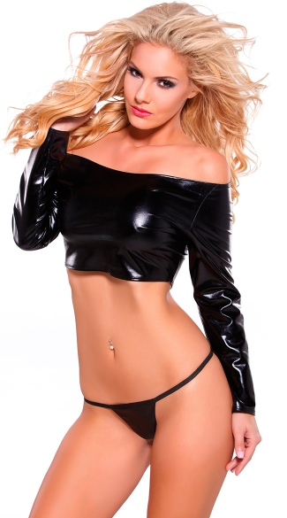 Wet Look Long Sleeve Crop Top - Black