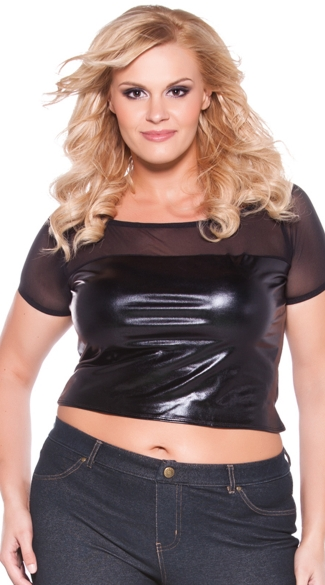 Plus Size Wet Look and Mesh Crop Top, Plus Size Sexy Crop Tops, Plus Size Black Vinyl Midriff Top