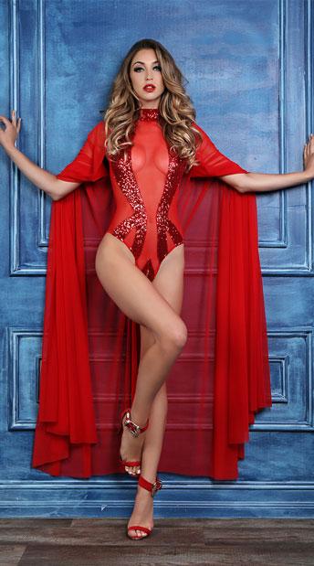 Coco Enchanting Sequin Bodysuit - Red