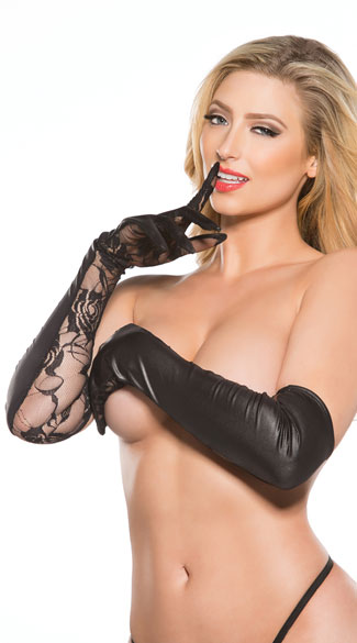 Wet Look and Lace Long Gloves, Opera Gloves, Vinyl and Lace Gloves