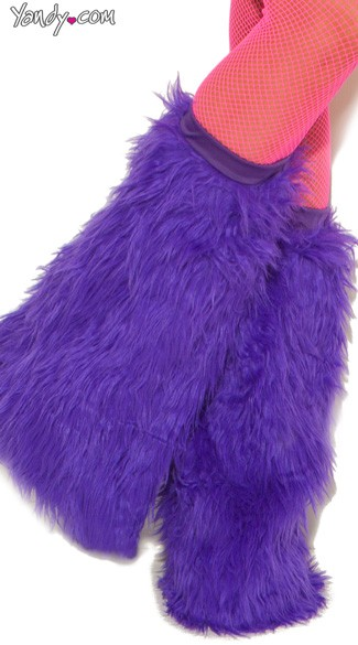 Knee High Fur Boot Covers - Neon Purple