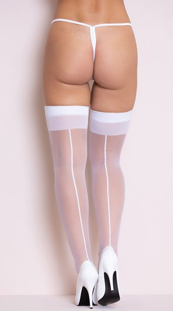 White Sheer Thigh Highs with Backseam - White