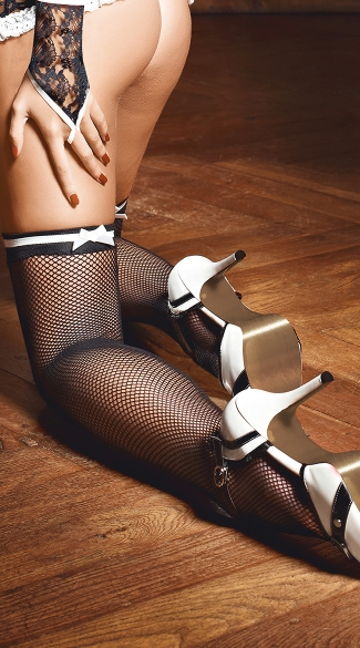 Black Fishnet Stockings with White Bows - White/Black