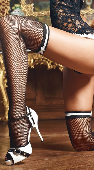 Black Fishnet Stockings with White Bows, Bow Top Fishnets