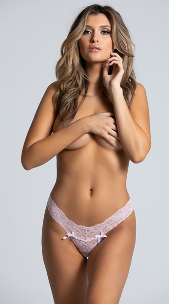 Light Pink Lacy Bows Thong - Light Pink