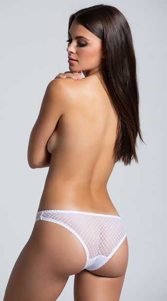 White Checkered Crotchless Panty - White/Light Pink