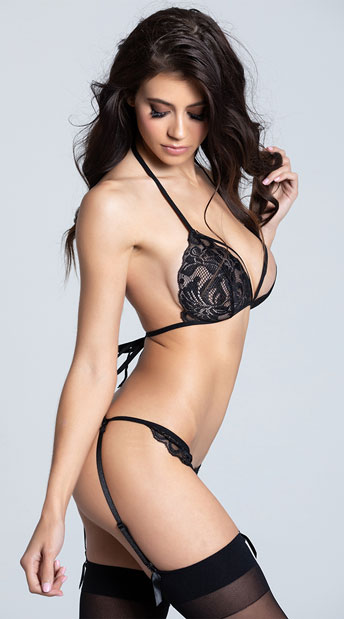 Two Piece Lacy Bra and Garter Set - Black