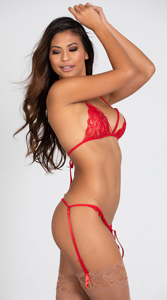 Two Piece Lacy Bra and Garter Set - Red