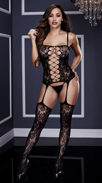 Lace Corset Front Bodystocking, Black Suspender Bodystocking, Black Criss-Cross Bodystocking