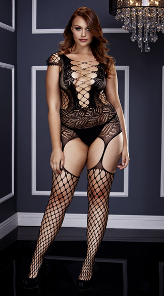 Plus Size Fishnet and Corset Front Suspender Bodystocking, Plus Size Fishnet Bodystocking, Plus Size Suspender Bodystocking