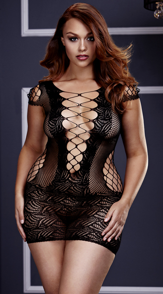 Plus Size Corset Front Fishnet Mini Dress, Plus Size Fishnet Chemise, Plus Size Black Fishnet Chemise