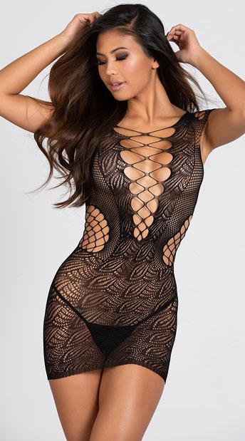 Corset Front Fishnet Mini Dress - Black