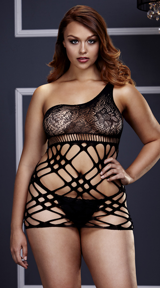 Plus Size Over The Shoulder Lace and Net Chemise, Plus Size Black Net Chemise, Plus Size Black Lace Chemise