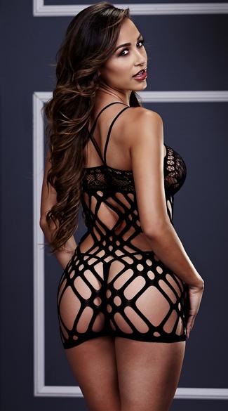 Double Strap Lace Mini Dress - Black