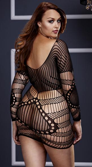 Plus Size Long Sleeve Netted Mini Dress - Black